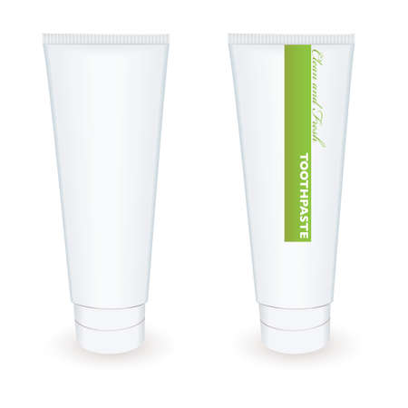 White blank toothpaste tube with green stripe and drop shadow