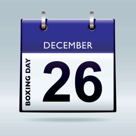 Simple blue and white boxing day calendar icon photo