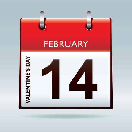 feb: Red top calendar icon for valentines day on 14th February Stock Photo