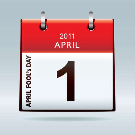 April fools day calendar icon with red banner and drop shadow background photo
