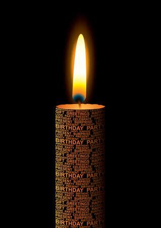 candle: Oranje verjaardags kaars met tekst en heldere vlam