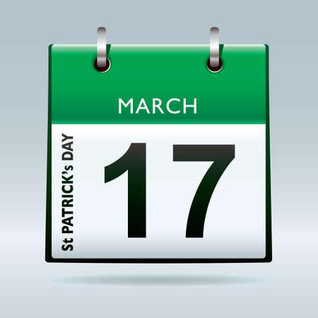 St Patricks Day Calendar green icon for irish holiday Stock Photo - 8620806
