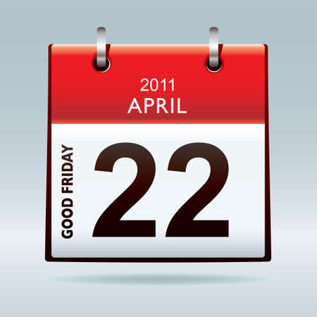 Good Friday calendar icon with red banner and blue background photo