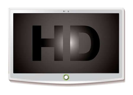 Modern LCD screen with HD text and white bevel and shadow photo