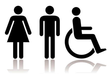 Blanco y negro figuras de hombres mujeres y discapacitados con sombra Foto de archivo - 8679301