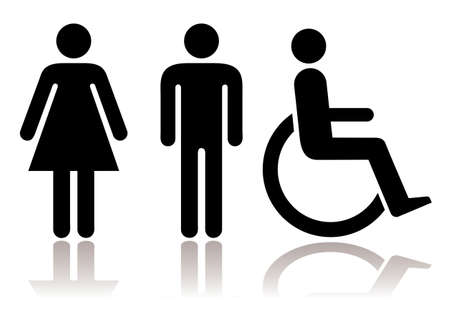 Black and white figures male female and disabled with shadow
