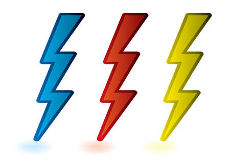 bolts: collection of red blue and yellow lightning bolts cartoon