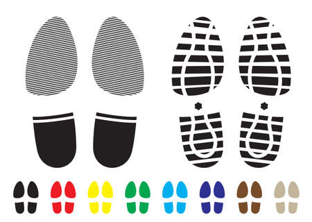 shoe print pattern with outline and template samples photo