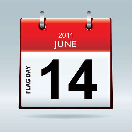 red top flag icon symbol with flag day date and blue background photo
