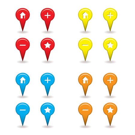 map pin: map pin icons with drop shadow ideal for satellite navigation