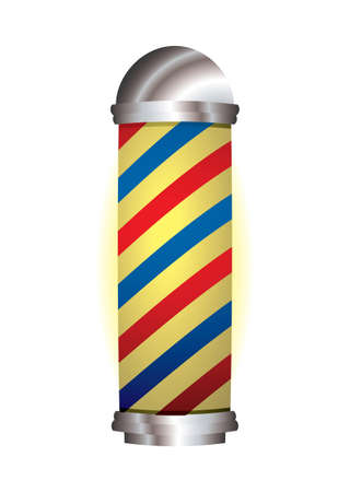 old fashioned babrbers pole with red and blue stripes photo