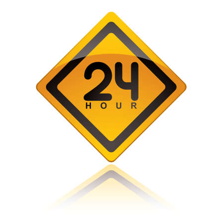 24: bright yellow 24 hour icon symbol with reflection in white background