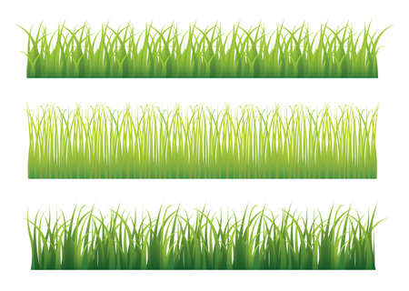 grass blades: Collection of three different green grass borders seamlessly repeat