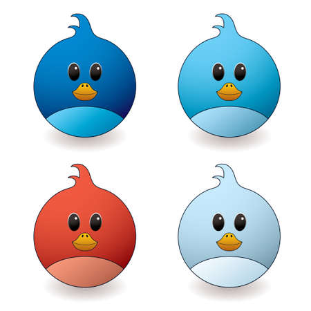 twit: cartoon style twit bird with red and blue colour variations Stock Photo