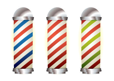 Different stripe barbers poles with silver elements Stock Photo - 9120619