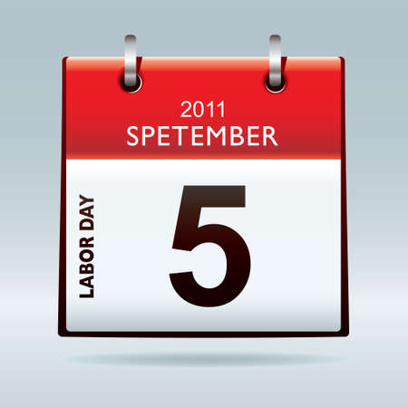 Red and white labor day calendar icon with blue background 2011 Stock Photo - 9157733
