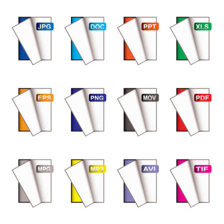 mpg: Collection of brightly coloured computer icons for all applications Stock Photo