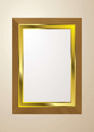 Grained light wood picture frame for gallery with gold trim photo