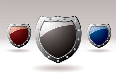 Collection of three metal shields with colored centers for text Stock Photo - 9273546