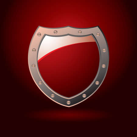 sheild: Bright red secure sheild with screws and spot light background Stock Photo