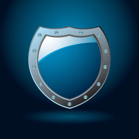 Dark blue or cobalt illustrated protection of a shield with gradient background photo
