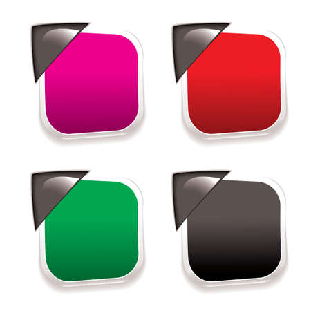 Collection of four paper tags with metal corner holders and shadow Stock Photo - 9273551
