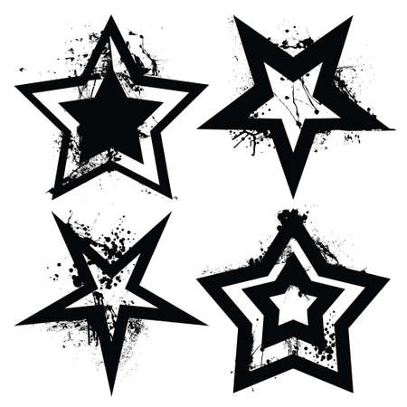 Black and white grunge star collection with ink splats and roller marks