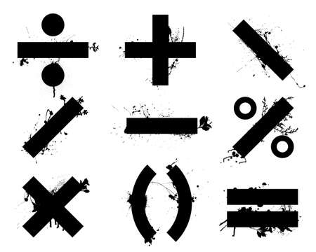 Grunge black school math symbols or icons with floral elements photo