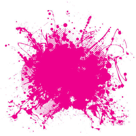 messy paint: Abstract pink grunge background with splat halftone dots Stock Photo