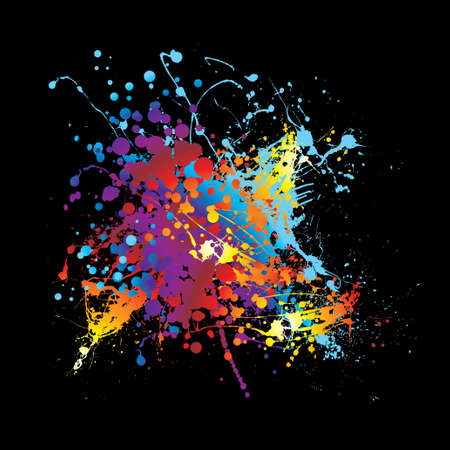 paint splatter: Abstract rainbow ink splat black background with room for text