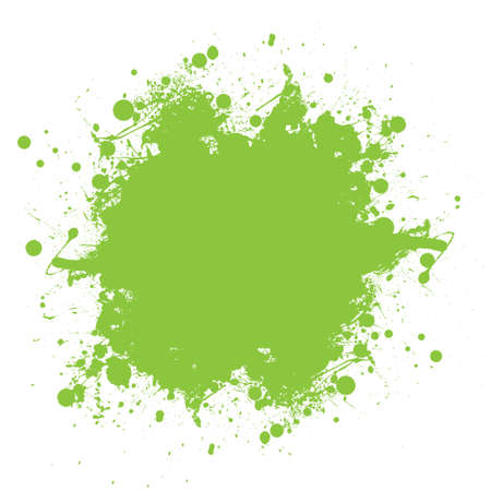 Grunge green ink splat with copyspace and white background photo