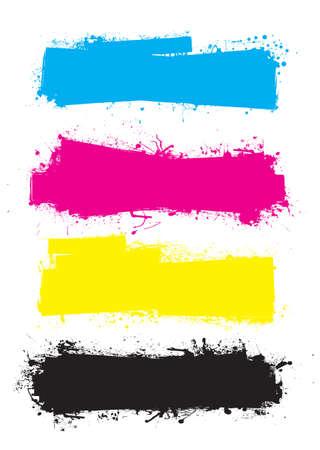 Splat banner cmyk ink grunge effect with space for text Standard-Bild