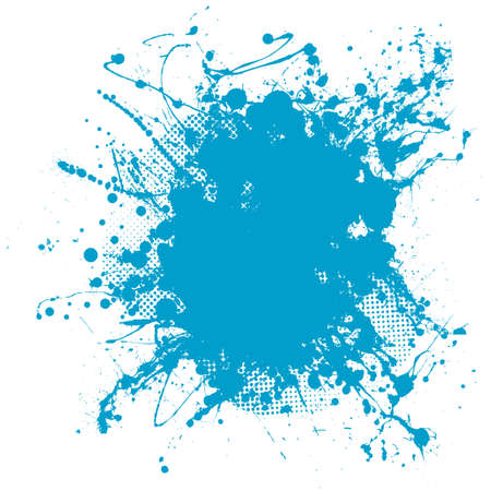 spatter: Grunge ink splat background blob with halftone dots Stock Photo