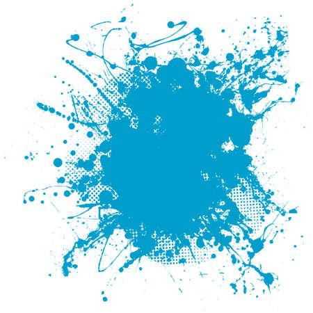 Grunge ink splat background blob with halftone dots Standard-Bild