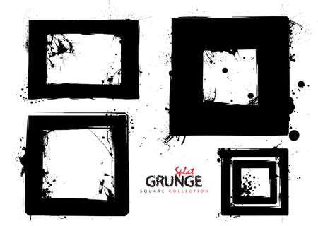 black and white image: Four black square grunge ink splat frames or borders