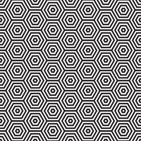 Seventies inspired hexagon seamless pattern background in black and white Standard-Bild