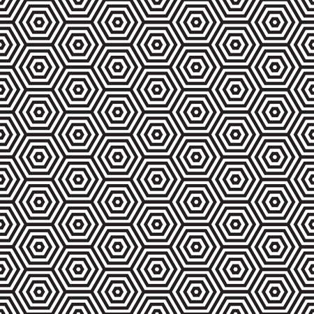 Seventies inspired hexagon seamless pattern background in black and white photo