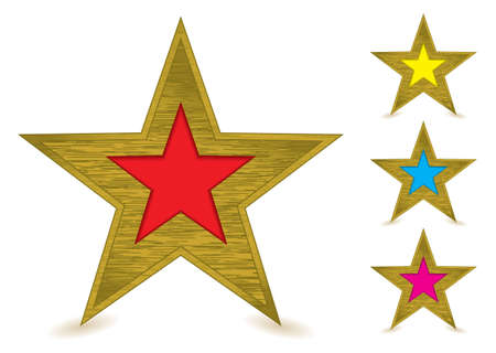 centers: Collection of brushed metal gold star awards with coloured centers