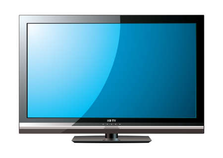 Modern flat screen television with blue monitor Stock Photo - 9478726