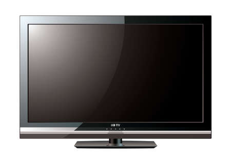 Modern black flat screen lcd television monitor with light reflection Stock Photo - 9478718