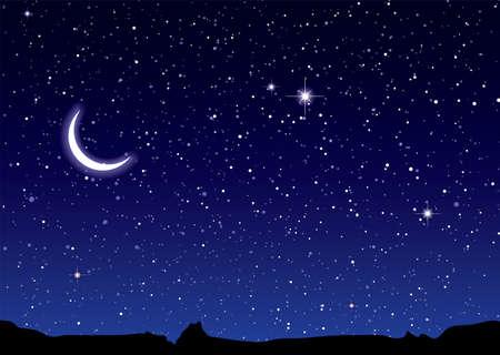 cielo estrellado: Paisaje de espacio con monta�as de silueta y Luna