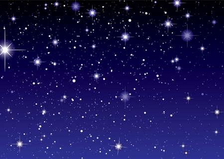 noche estrellada: Cielo oscuro con brillantes estrellas y planetas Foto de archivo