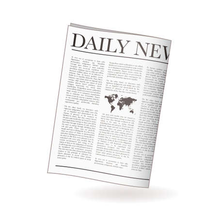 daily: Newspaper icon for daily news with world map and shadow