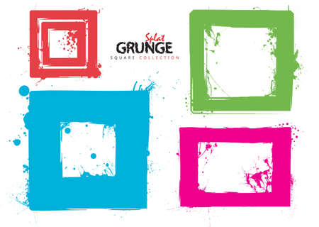 Grunge square ink splat collection with bright colours photo