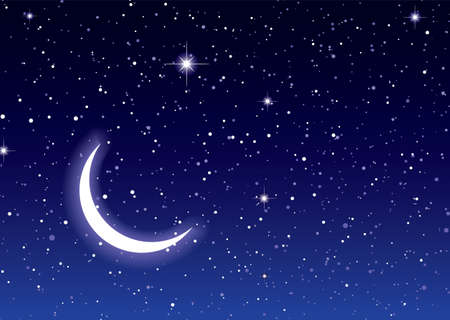 moon and stars: Nights sky with moon and stars ideal desktop or background