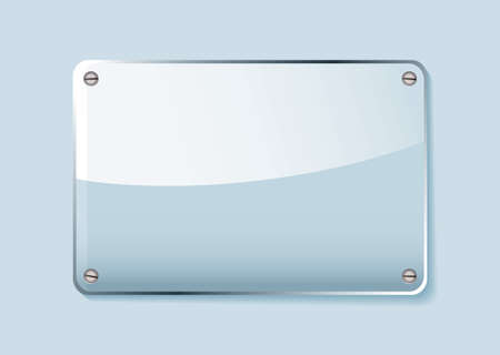 number plate: Transparent clear glass company name plate with room for text Stock Photo
