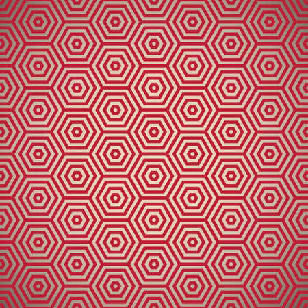 hexagon background: Retro inspired red seamless background pattern design