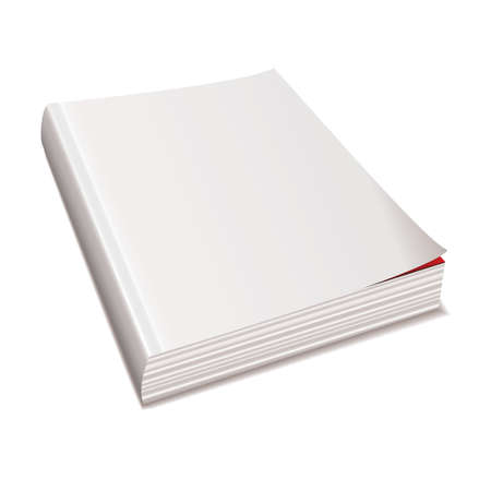 hardback: Blank white paper back book with shadow spine