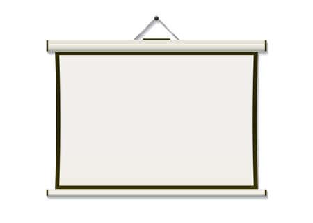 diaporama: Ecran de projection blanc pendu � paroi avec atelier