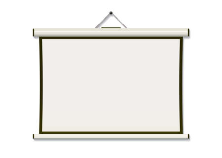 White projection screen hanging from wall with copyspace Stock Photo